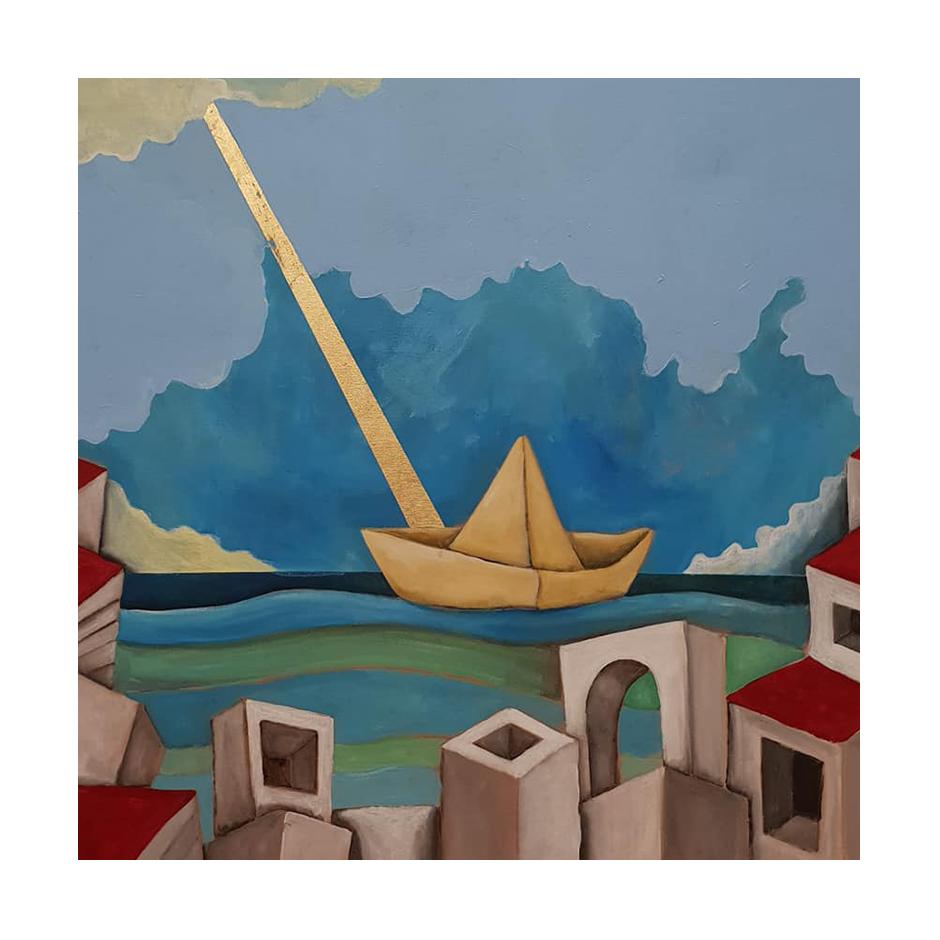 Titolo: Origami e case Tecnica: Acrilico Su tela con inserto in foglia oro Dimensioni: 70 cm x 70 cm  Data: 2018 Collezione Personale