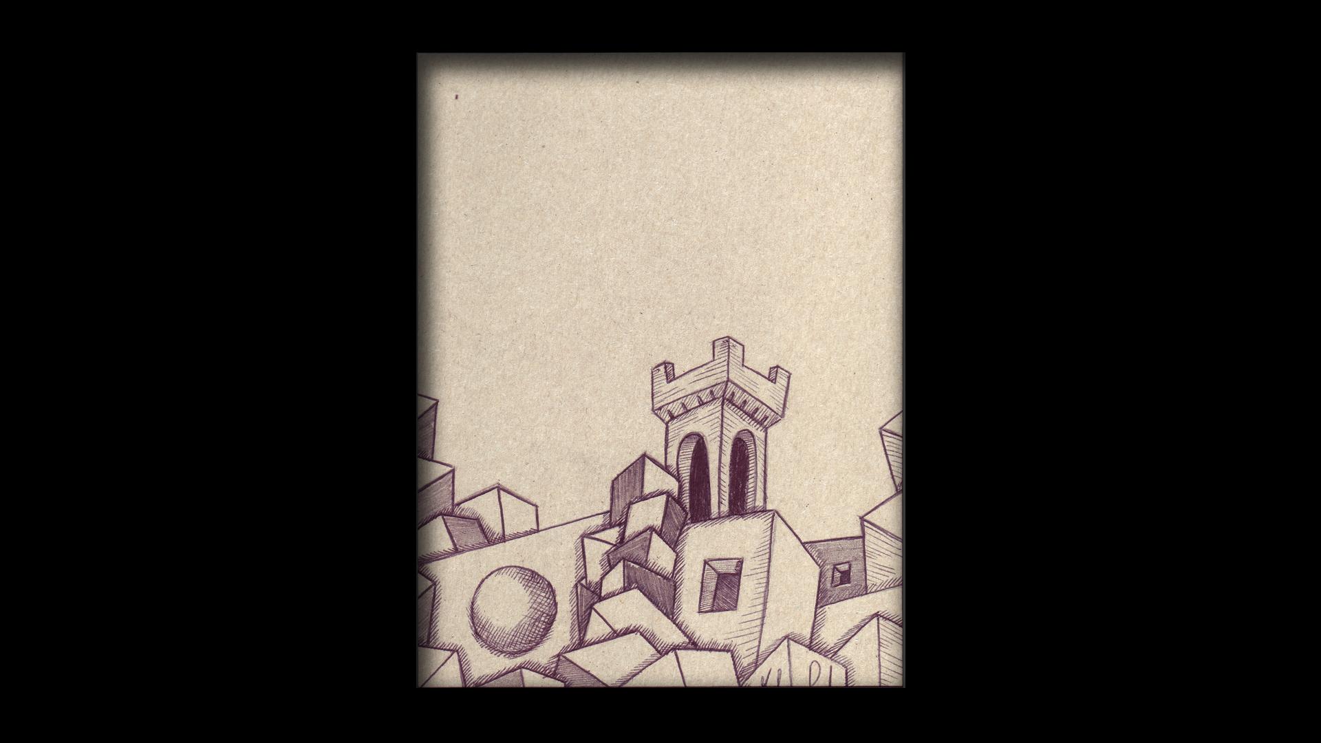Titolo: Castello di Carini Tecnica: Penna a sfera su cartoncino Dimensioni: 14 cm x 18 cm Data: 2018 Collezione Personale