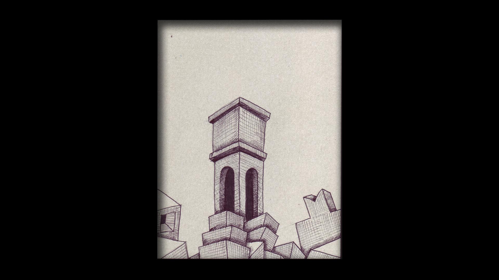 Titolo: Torre Tecnica: Penna a sfera su cartoncino Dimensioni: 14 cm x 18 cm Data: 2018 Collezione Personale