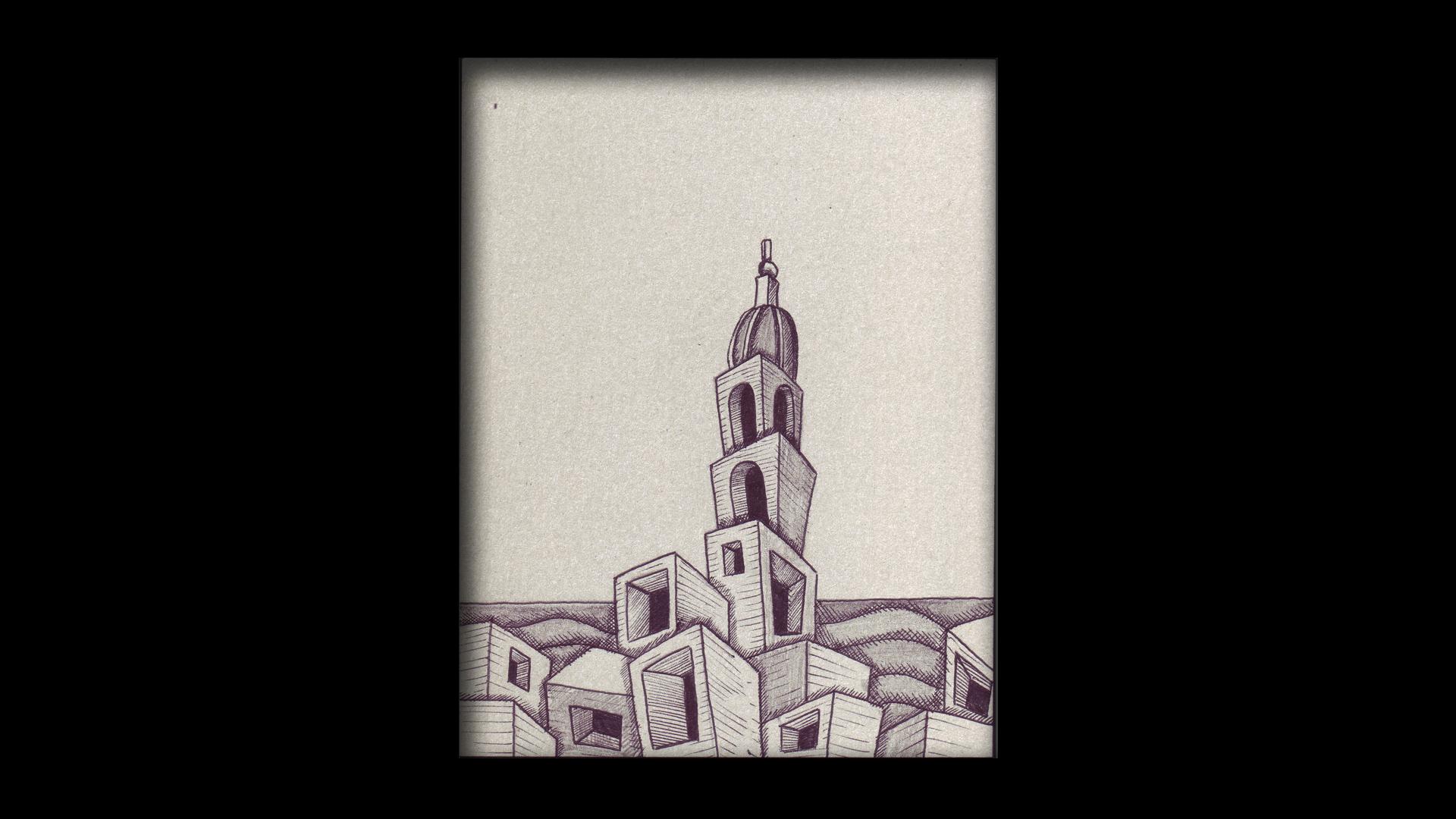 Titolo: Torre Campanaria Tecnica: Penna a sfera su cartoncino Dimensioni: 14 cm x 18 cm Data: 2018 Collezione Personale