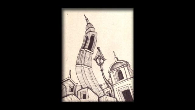 Titolo: Torre Ondulata Tecnica: Penna a sfera su cartoncino Dimensioni: 14 cm x 18 cm Data: 2018 Collezione Personale