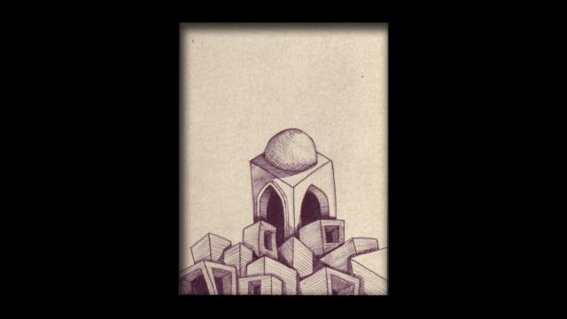 Titolo: Cupola Tecnica: Penna a sfera su cartoncino Dimensioni: 14 cm x 18 cm Data: 2018 Collezione Personale