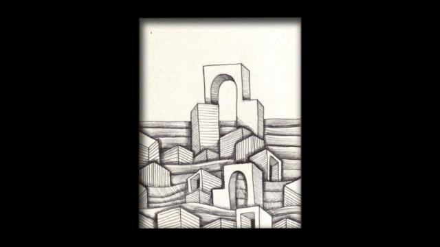 Titolo: 2 Archi Tecnica: Penna a sfera su cartoncino Dimensioni: 14 cm x 18 cm Data: 2018 Collezione Personale