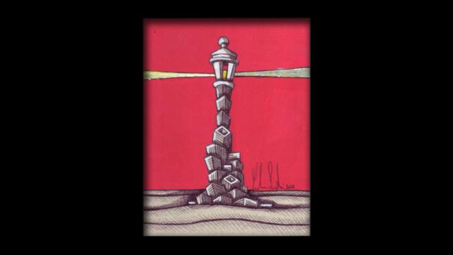 Titolo: Faro Tecnica: Penna a sfera e uniposca su cartoncino Dimensioni: 14 cm x 18 cm Data: 2018 Collezione Personale