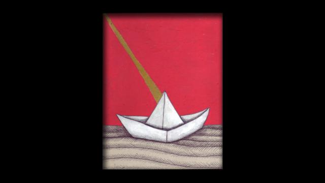 Titolo: Origami e Raggio Tecnica: Penna a sfera e uniposca su cartoncino Dimensioni: 14 cm x 18 cm Data: 2018 Collezione Personale