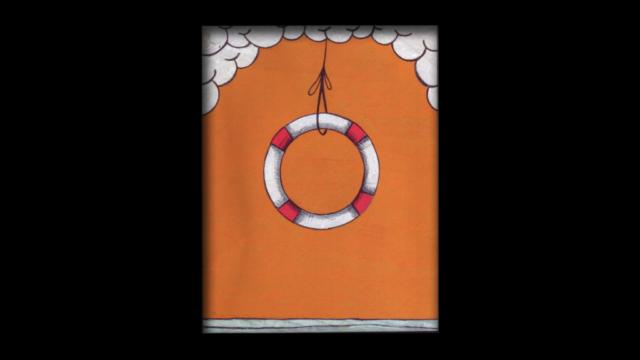 Titolo: Salvagente Tecnica: Penna a sfera e uniposca su cartoncino Dimensioni: 14 cm x 18 cm Data: 2018 Collezione Personale