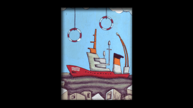 Titolo: Aquarius ONG Tecnica: Penna a sfera e uniposca su cartoncino Dimensioni: 14 cm x 18 cm Data: 2018 Collezione Personale