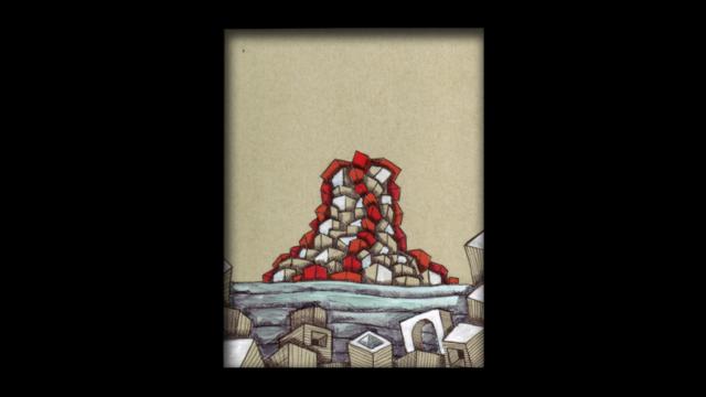 Titolo: Isola Vulcanica e Strutture Tecnica: Penna a sfera su cartoncino e uniposca Dimensioni: 14 cm x 18 cm Data: 2018 Collezione Personale