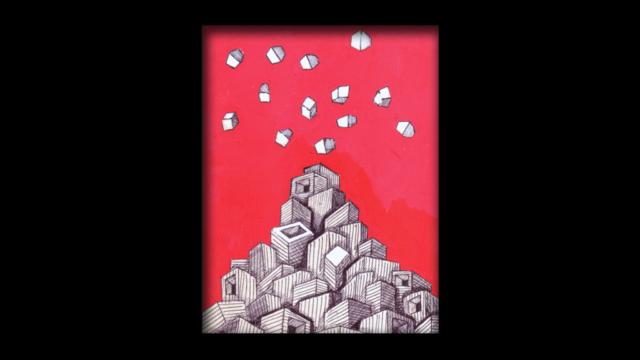 Titolo: Vulcano1 Tecnica: Penna a sfera su cartoncino e uniposca Dimensioni: 14 cm x 18 cm Data: 2018 Collezione Personale