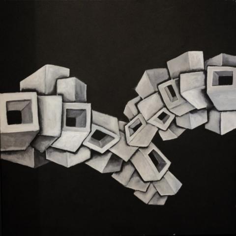 Titolo: Tettonica delle Placche su sfondo nero Tecnica: Acrilico Su tela Dimensioni: 70 cm x 70 cm Data: 2018 Collezione Personale