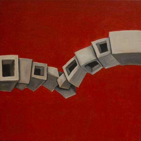 Titolo: Tettonica delle Placche su sfondo rosso Tecnica: Acrilico Su tela Dimensioni: 70 cm x 70 cm Data: 2018 Collezione Personale