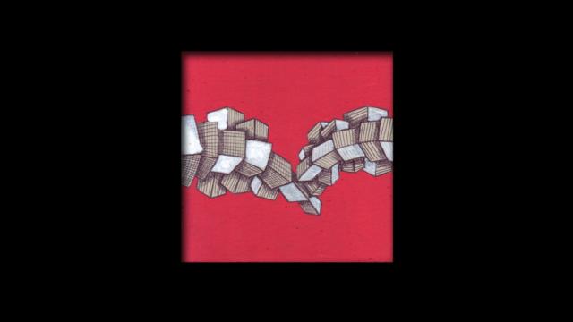 Titolo: Tettonica delle Placche su sfondo rosso Tecnica: Penna a sfera su cartoncino e uniposca Dimensioni: 14 cm x 14 cm Data: 2018 Collezione Personale