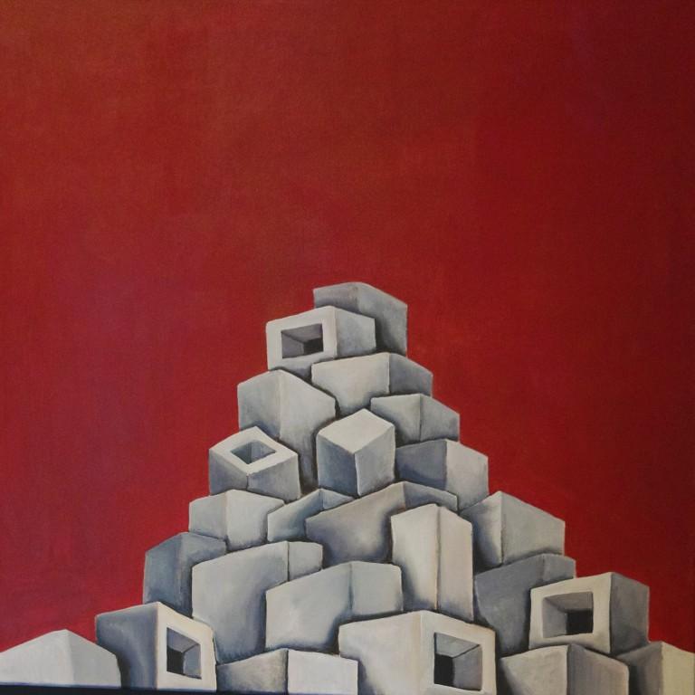 Titolo: Vulcano su sfondo rosso Tecnica: Acrilico Su tela Dimensioni: 70 cm x 70 cm Data: 2018 Collezione Personale